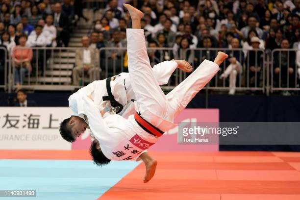 Joshiro Maruyama and Hifumi Abe compete in the Men's 66kg final match during day two of the All Japan Judo Championships By Weight Category at the...