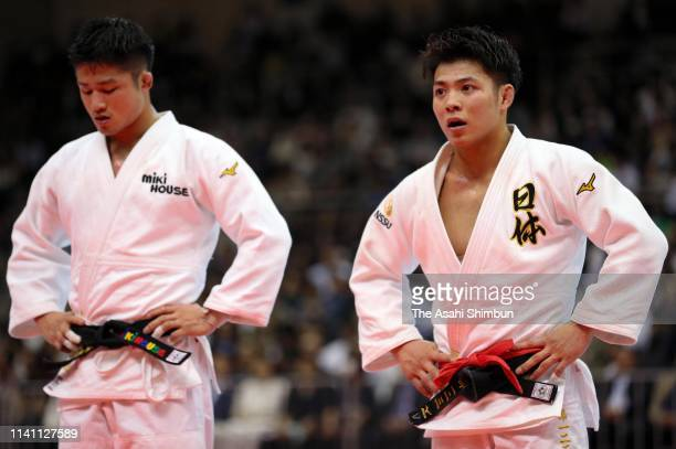 Joshiro Maruyama and Hifumi Abe react after competing in the Men's 66kg final during day two of the All Japan Judo Championships By Weight Category...