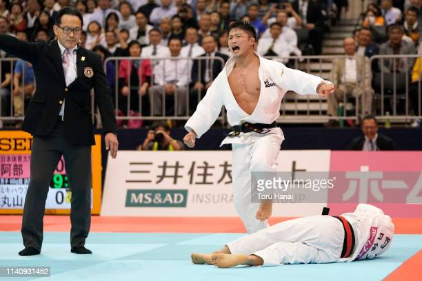 Joshiro Maruyama celebrates after defeating Hifumi Abe in the Men's 66kg final match during day two of the All Japan Judo Championships By Weight...