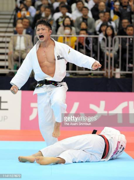 Joshiro Maruyama celebrates winning against Hifumi Abe in the Men's 66kg final during day two of the All Japan Judo Championships By Weight Category...