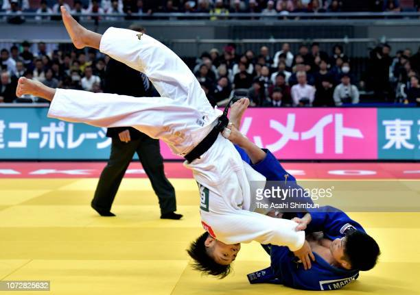 Joshiro Maruyama of Japan and Hifumi Abe of Japan compete in the Men's 66kg final on day one of the Grand Slam Osaka at Maruzen Intec Arena Osaka on...