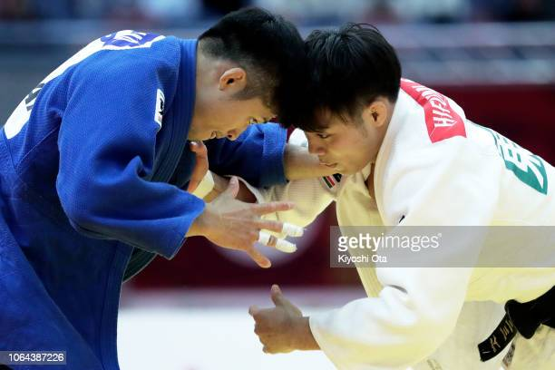 Joshiro Maruyama of Japan competes against Hifumi Abe of Japan in the Men's 66kg final match on day one of the Grand Slam Osaka at Maruzen Intec...
