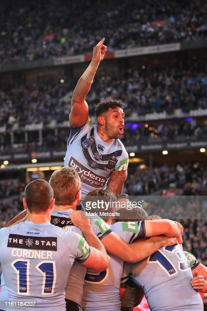Joshua Addo-Carr of the Blues celebrates the try by team mate Damien Cook of the Blues during game three of the 2019 State of Origin series between...