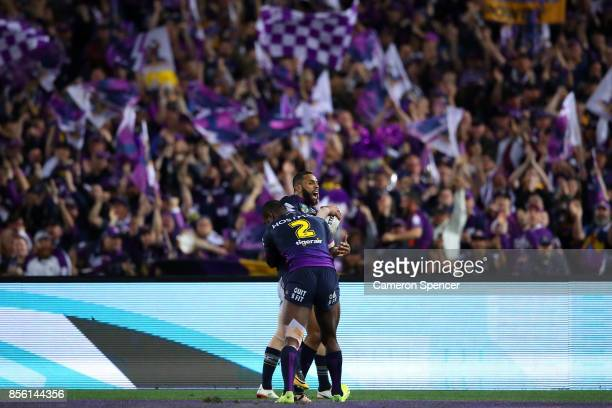 Joshua AddoCarr of the Storm scores a try during the 2017 NRL Grand Final match between the Melbourne Storm and the North Queensland Cowboys at ANZ...