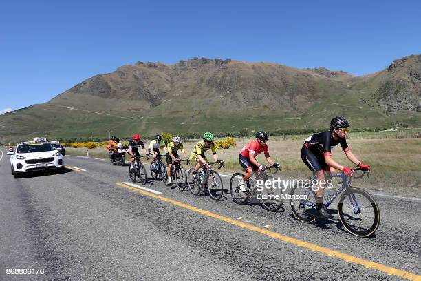 Joshua Aldridge of Auckland leads out front of the main peloton towards Kingston during stage 3 from Mossburn to Coronet Peak during the 2017 Tour of...