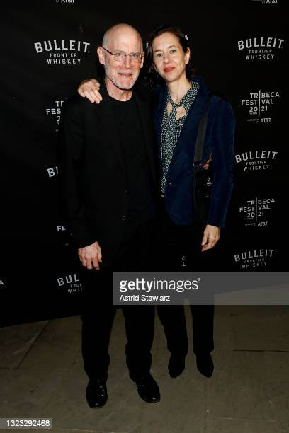 Joshua Astrachan and Ellen Berkenblit attends the Italian Studies after party at The Battery Hosted By Bulleit Frontier Whiskey during the 2021...