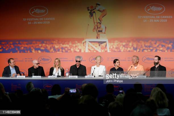 "Joshua Astrachan, Chloe Sevigny, Jim Jarmusch, Tilda Swinton, Selena Gomez, Bill Murray and Carter Logan attend the press conference for ""The Dead..."