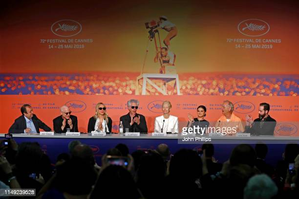 Joshua Astrachan Chloe Sevigny Jim Jarmusch Tilda Swinton Selena Gomez Bill Murray and Carter Logan attend the press conference for The Dead Don't...
