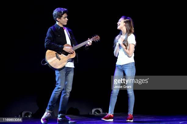 Joshua Bassett and Olivia Rodrigo of 'High School Musical The Musical The Series' took part today in the Disney Showcase at Disney's D23 EXPO 2019 in...