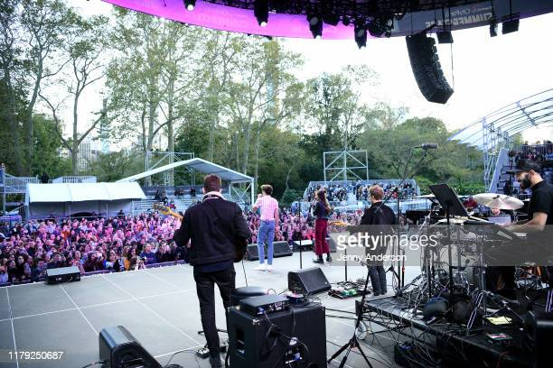 Joshua Bassett and Olivia Rodrigo of High School Musical The Musical The Series perform onstage during the 5th Annual Elsie Fest Broadway's Outdoor...