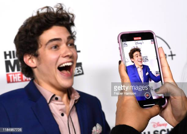 "Joshua Bassett attends the Premiere Of Disney+'s ""High School Musical: The Musical: The Series"" at Walt Disney Studio Lot on November 01, 2019 in..."