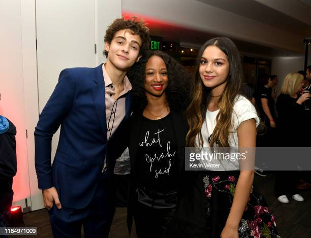 Joshua Bassett Monique Coleman and Olivia Rodrigo pose at the after party for the premiere of Disney's High School Musical The Musical The Series at...