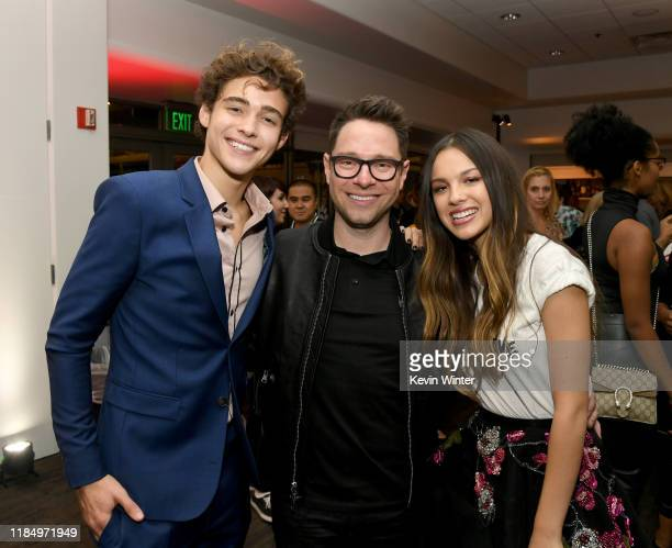 Joshua Bassett Tim Federle and Olivia Rodrigo pose at the after party for the premiere of Disney's High School Musical The Musical The Series at the...