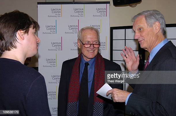 Joshua Bell Paul Newman and Alan Alda during Friends and Celebrities Greet Joshua Bell after his 'Live From Lincoln Center' Performance at Lincoln...