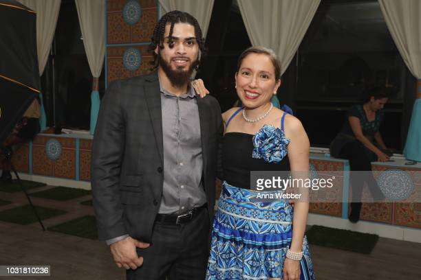 Joshua Bigaud and Marisol Deluna pose after the Marisol Deluna New York Fashion Week presentation at Tals Studio on September 11 2018 in New York City