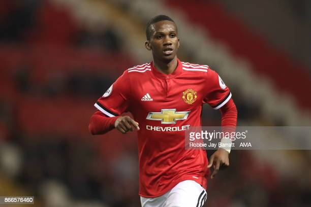 Joshua Bohui of Manchester United during the Premier League 2 fixture between Manchester United and Liverpool at Leigh Sports Village on October 23...