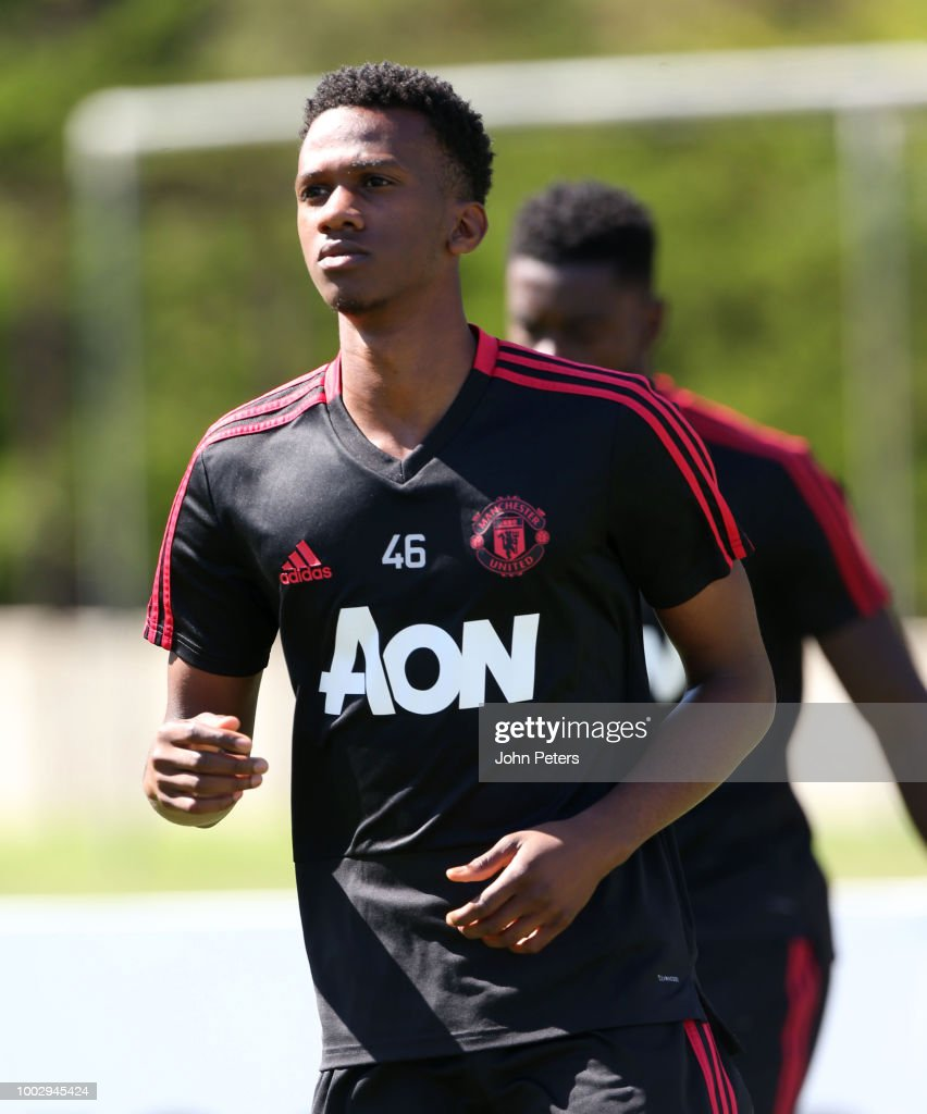 Joshua Bohui of Manchester United in action during a Manchester United pre-season training session at UCLA on July 20, 2018 in Los Angeles, California.