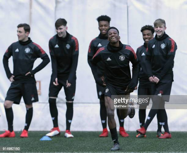 Joshua Bohui of Manchester United U19s in action during a training session at Vozdovac Stadium on February 6 2018 in Belgrade Serbia