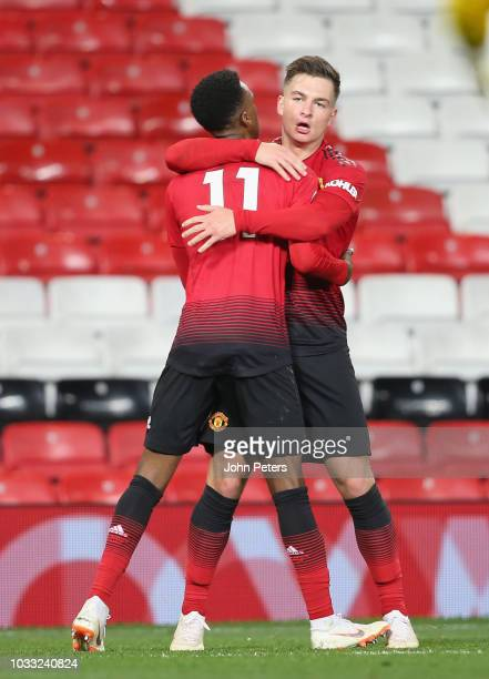 Joshua Bohui of Manchester United U23s celebrates scoring their first goal during the Premier League 2 match between Manchester United U23s and...