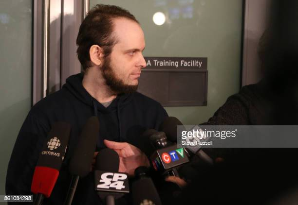 MISSISSAUGA ON OCTOBER 13 Joshua Boyle arrives to speak to the media He and his wife Caitlain Coleman and their two sons 4 and 2 and newborn daughter...