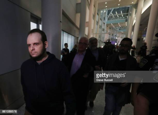 MISSISSAUGA ON OCTOBER 13 Joshua Boyle leaves after speking to the media He and his wife Caitlain Coleman and their two sons 4 and 2 and newborn...