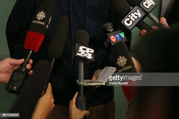 MISSISSAUGA ON OCTOBER 13 Joshua Boyle reads from notes as he speaks to the media He and his wife Caitlain Coleman and their two sons 4 and 2 and...