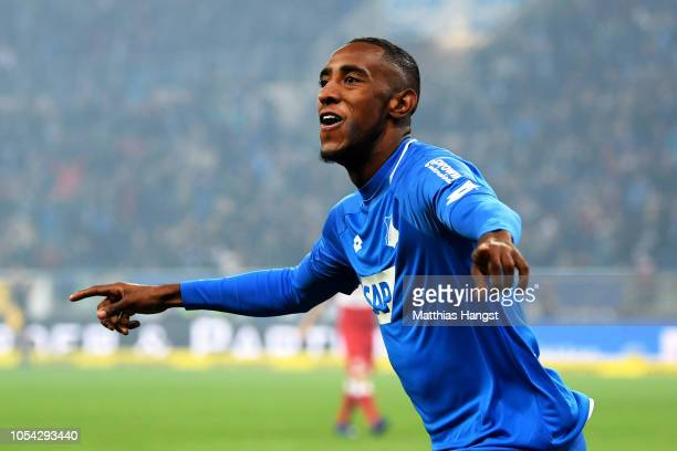Joshua Brenet of 1899 Hoffenheim celebrates after teammate Joelinton of 1899 Hoffenheim scores their team's second goal during the Bundesliga match...