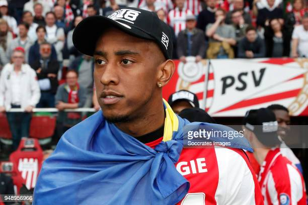 Joshua Brenet of PSV celebrates the championship during the Dutch Eredivisie match between PSV v Ajax at the Philips Stadium on April 15 2018 in...