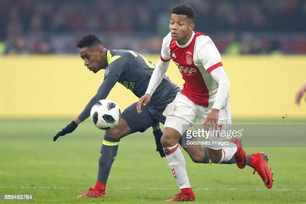 Joshua Brenet of PSV David Neres of Ajax during the Dutch Eredivisie match between Ajax v PSV at the Johan Cruijff Arena on December 10 2017 in...
