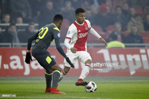 Joshua Brenet of PSV David Neres of Ajax during the Dutch Eredivisie match between Ajax Amsterdam and PSV Eindhoven at the Amsterdam Arena on...