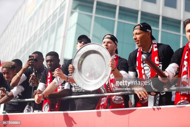 Joshua Brenet of PSV, Derrick Luckassen of PSV, Marco van Ginkel of PSV, Jorrit Hendrix of PSV, Eloy Room of PSV, leaving the stadium during the...