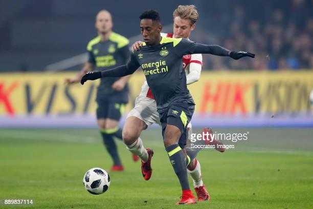 Joshua Brenet of PSV Frenkie de Jong of Ajax during the Dutch Eredivisie match between Ajax v PSV at the Johan Cruijff Arena on December 10 2017 in...