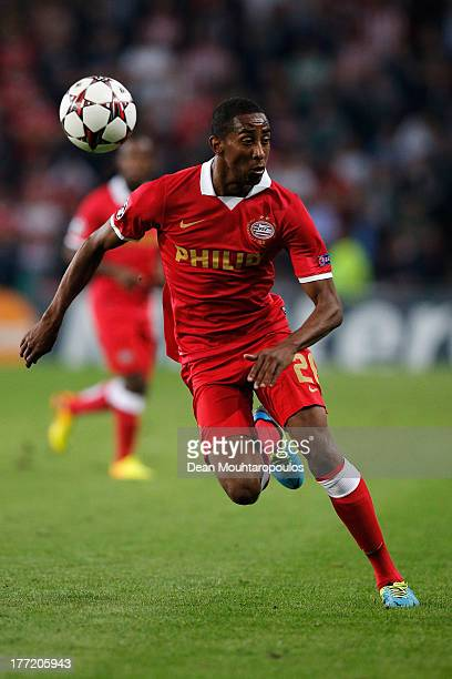 Joshua Brenet of PSV in action during the UEFA Champions League Playoff First Leg match between PSV Eindhoven and AC Milan at PSV Stadion on August...