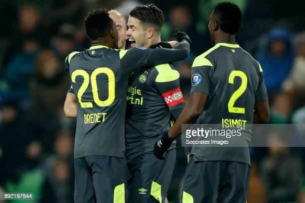 Joshua Brenet of PSV Jorrit Hendrix of PSV Marco van Ginkel of PSV Nicolas Isimat of PSV during the Dutch Eredivisie match between FC Groningen v PSV...