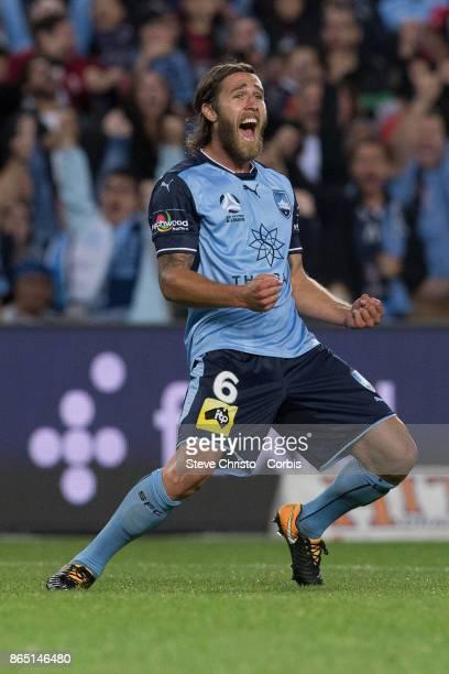 Joshua Brillante celebrates scoring a goal during the round three ALeague match between Sydney FC and Western Sydney Wanderers at Allianz Stadium on...