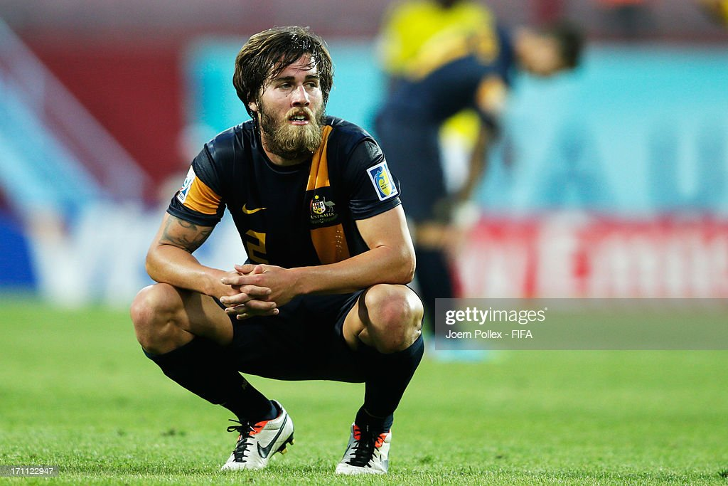 Joshua Brillante of Australia reacts after the FIFA U-20 World Cup Group C match between Colombia and Australia at Huseyin Avni Aker Stadium on June 22, 2013 in Trabzon, Turkey.