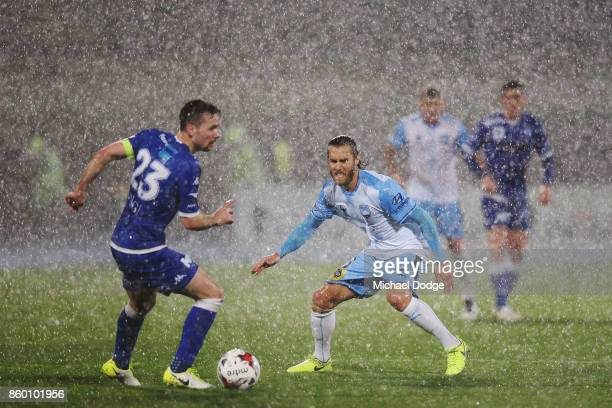 Joshua Brillante of Sydney FC defends during the FFA Cup Semi Final match between South Melbourne FC and Sydney FC at Lakeside Stadium on October 11...
