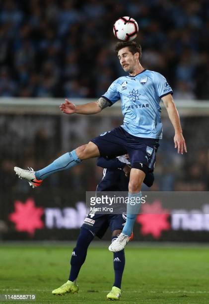 Joshua Brillante of Sydney FC heads the ball during the A-League Semi Final match between Sydney FC and the Melbourne Victory at Netstrata Jubilee...