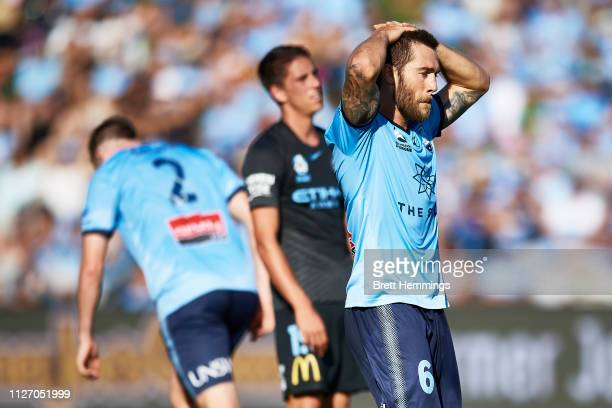 Joshua Brillante of Sydney reacts after a shot at goal during the round 17 ALeague match between Sydney FC and Melbourne City at WIN Jubilee Stadium...
