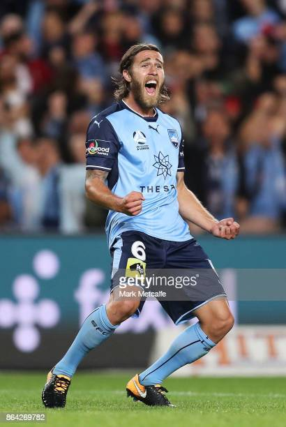 Joshua Brilliante of Sydney FC celebrates scoring a goal during the round three ALeague match between Sydney FC and the Western Sydney Wanderers at...