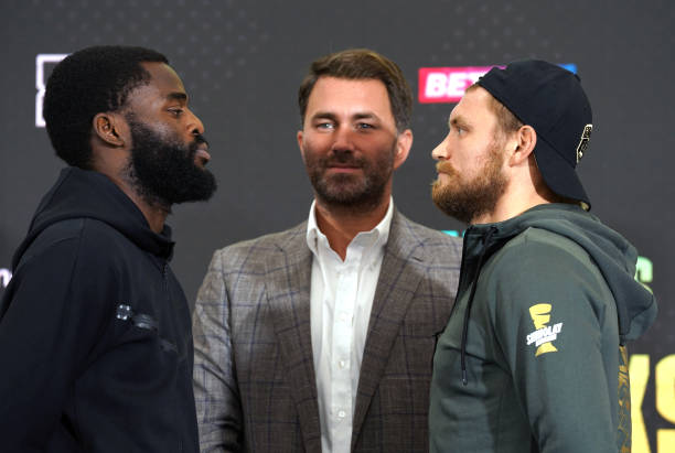 Joshua Buatsi alongside Eddie Hearn and Ricards Bolotniks during a press conference at Mascalls, Brentwood, London. Picture date: Thursday August 12,...