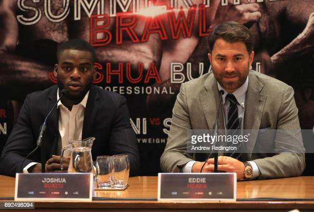 Joshua Buatsi and promoter Eddie Hearn are pictured during the Frank Buglioni and Ricky Summers Press Conference on June 5 2017 in London England