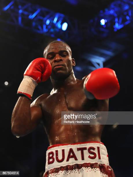 Joshua Buatsi celebrates victory after the LightHeavyweight contest against Saidou Sall at Principality Stadium on October 28 2017 in Cardiff Wales
