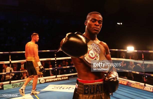 TYNE ENGLAND OCTOBER 13 Joshua Buatsi celebrates victory over Tony Averlant during the WBA International LightHeavyweight Championship fight at Metro...