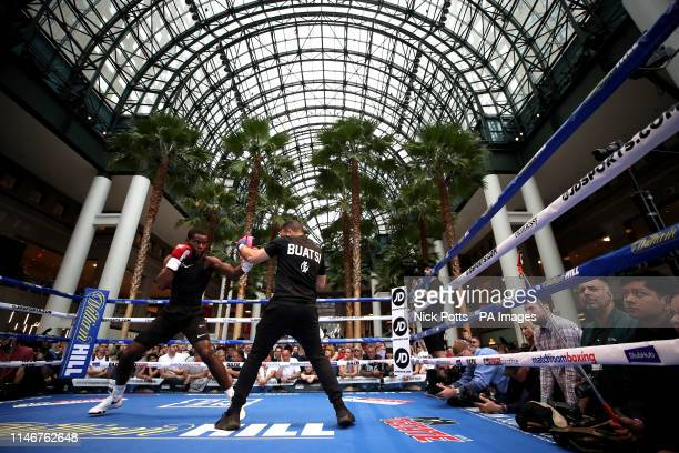 Joshua Buatsi during the public workout at the Brookfield Place New York