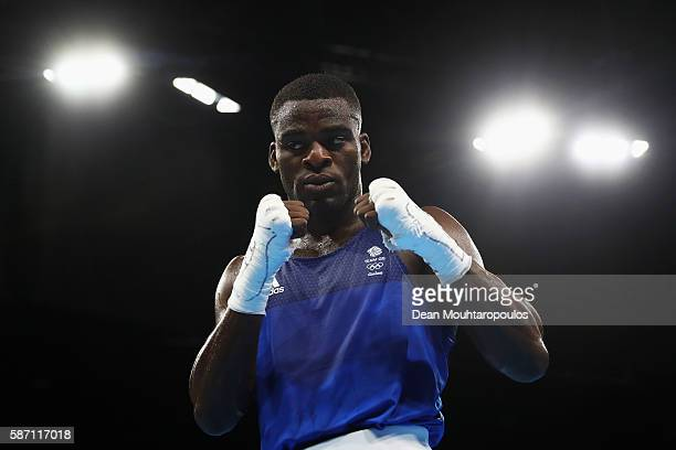 Joshua Buatsi of Great Britain celebrates victory against Kennedy Katende after their Men's Light Heavy 81kg Preliminary bout on Day 2 of the Rio...