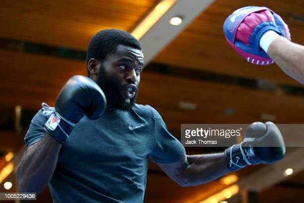 Joshua Buatsi of Great Britain trains during a public workout at Westfield Stratford on July 25 2018 in London England