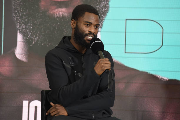 Joshua Buatsi speaking during the press conference on August 12, 2021 in Brentwood, England ahead of the WBA International Light Heavyweight title...