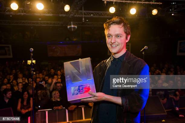 Joshua Burnside receives the NI album of the year award at the NI Music Awards at Mandela Hall on November 11 2017 in Belfast Northern Ireland