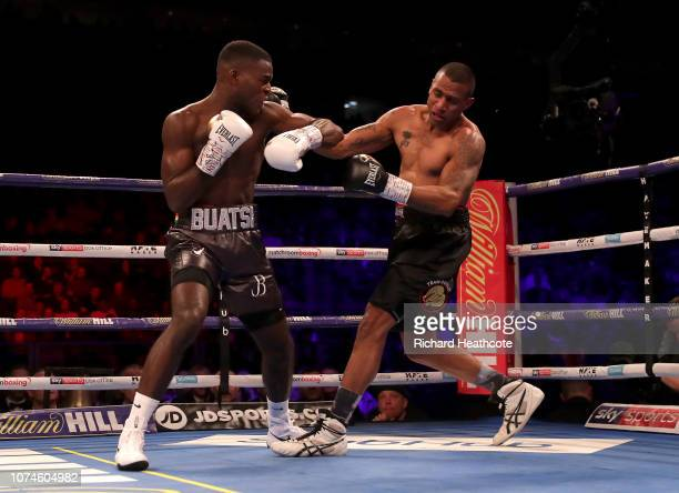 Joshua Butasi knocks out Renold Quinlan during the WBA International Light-Heavyweight Championship title fight between Joshua Buatsi and Renold...